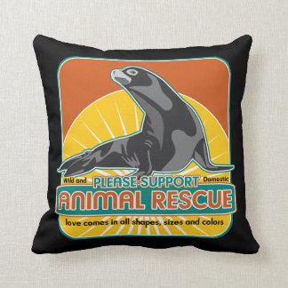 Lobo marino animal del rescate almohadas