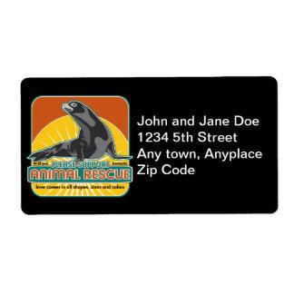 Lobo marino animal del rescate etiqueta de envío