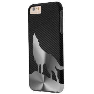 Lobo metálico del grito con la fibra de carbono funda para iPhone 6 plus tough