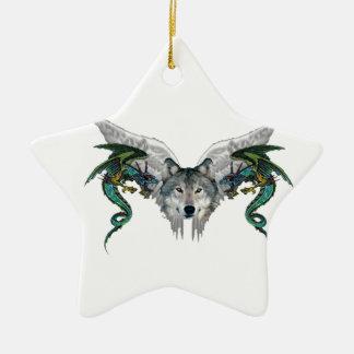 lobo místico adorno de cerámica en forma de estrella