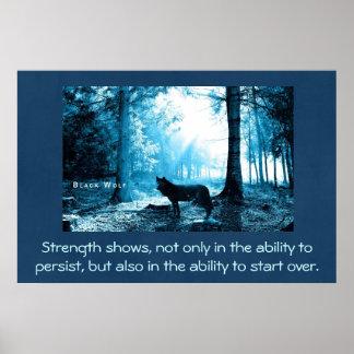 Lobo negro con cita de la fuerza póster