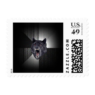 Lobo negro divertido de Meme Memes del lobo de la Sellos Postales