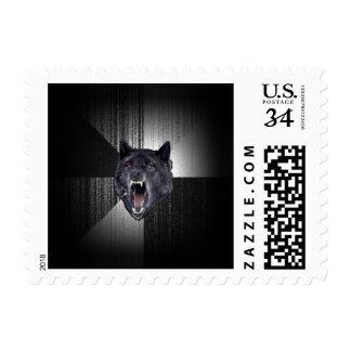 Lobo negro divertido de Meme Memes del lobo de la Timbre Postal