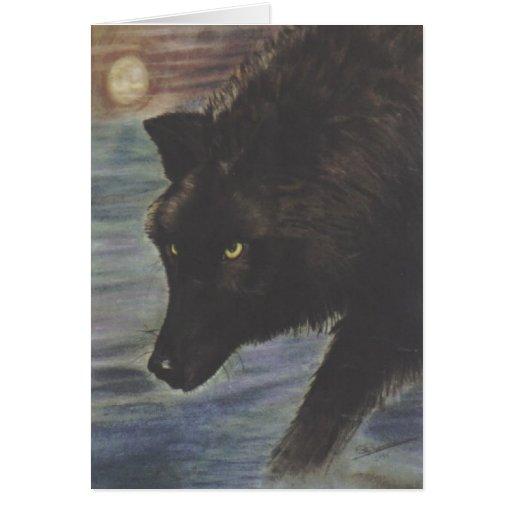 """""""Lobo negro en agua """" Tarjeta De Felicitación"""