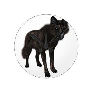 Lobo negro reloj redondo mediano