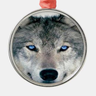 Lobo observado azul adorno redondo plateado