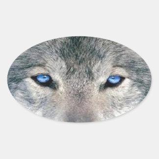 Lobo observado azul pegatina ovalada