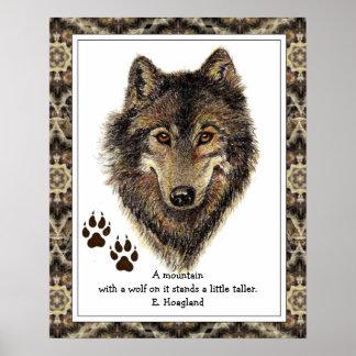 Lobo original de la acuarela, cita de la montaña d poster