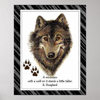 Lobo original de la acuarela, cita de la montaña d posters