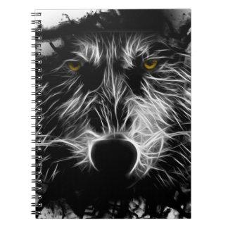 Lobo oscuro libros de apuntes con espiral