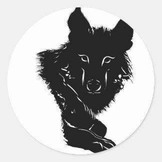 Lobo oscuro pegatina redonda