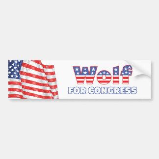 Lobo para la bandera americana patriótica del cong etiqueta de parachoque