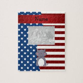 Lobo patriótico conocido personalizado puzzle con fotos