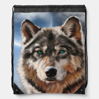 Lobo pintado en mochila del claro de luna