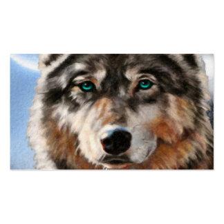 Lobo pintado en tarjeta de visita del claro de