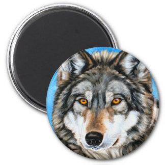 Lobo pintado imán redondo 5 cm