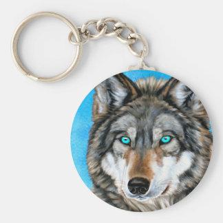 Lobo pintado (ojos azules) llavero redondo tipo pin