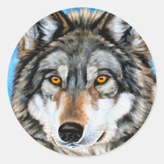 Lobo pintado pegatina redonda