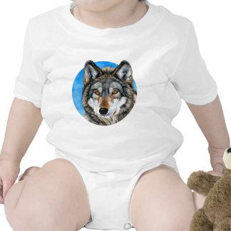 Lobo pintado traje de bebé