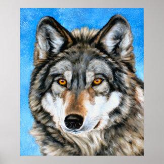 Lobo pintado póster