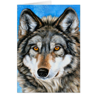 Lobo pintado tarjeta de felicitación
