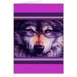 Lobo púrpura solitario tarjeta de felicitación