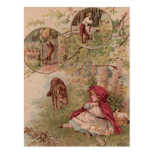 Lobo que camina hacia la capa con capucha roja tarjetas postales