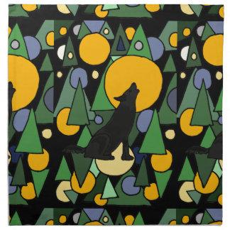Lobo que grita en el arte abstracto de la luna servilleta de papel