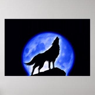 Lobo que grita en la impresión del poster de la lu