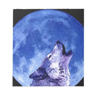 Lobo que grita en la luna libreta para notas