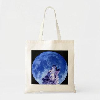 Lobo que grita en la luna bolsa tela barata