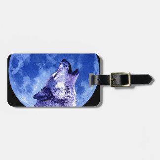 Lobo que grita en la luna etiquetas para maletas