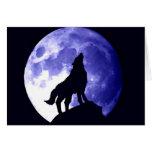 Lobo que grita en la luna felicitación
