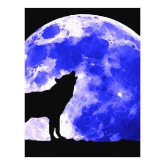 Lobo que grita en la luna flyer a todo color