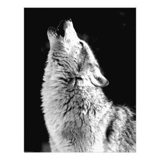 Lobo que grita en la luna tarjeton