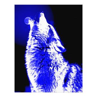 Lobo que grita en la luna tarjetas informativas