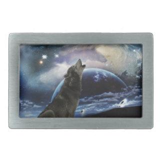 Lobo que grita en la luna hebillas de cinturón rectangulares