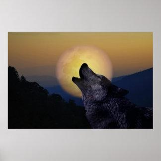 Lobo que grita en la luna impresiones