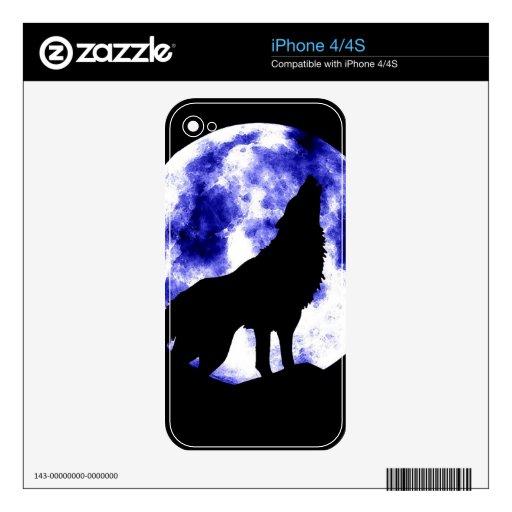 Lobo que grita en la luna iPhone 4S calcomanía