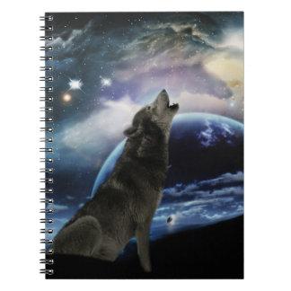 Lobo que grita en la luna libro de apuntes con espiral