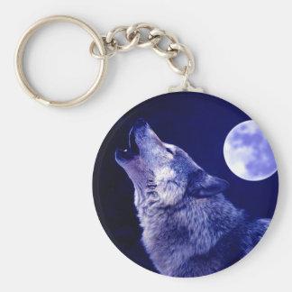 Lobo que grita en la luna llavero personalizado