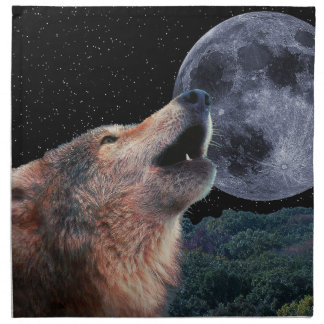 Lobo que grita en la Luna Llena - Multi-Products-0 Servilleta Imprimida