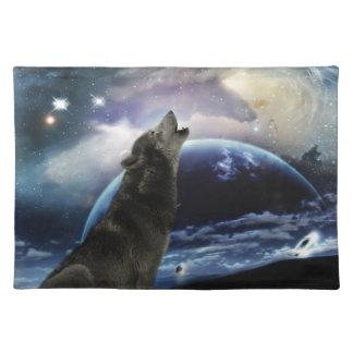 Lobo que grita en la luna mantel