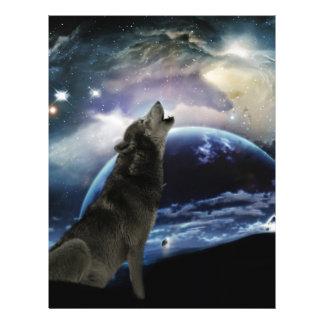 Lobo que grita en la luna membrete personalizado