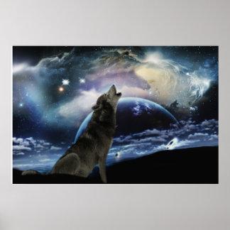 Lobo que grita en la luna poster