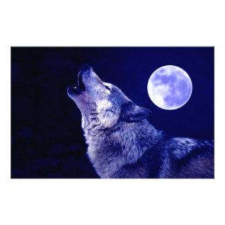Lobo que grita en la luna  papeleria de diseño