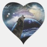 Lobo que grita en la luna pegatina corazon