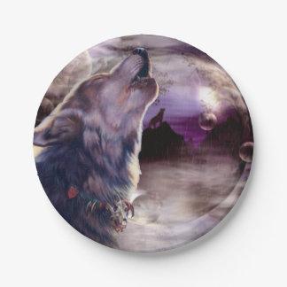 Lobo que grita en la luna plato de papel de 7 pulgadas