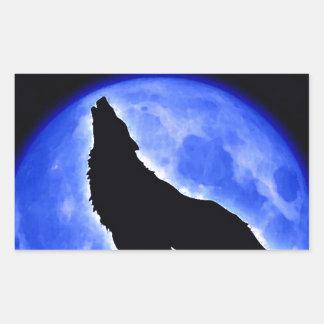 Lobo que grita en la luna rectangular pegatinas