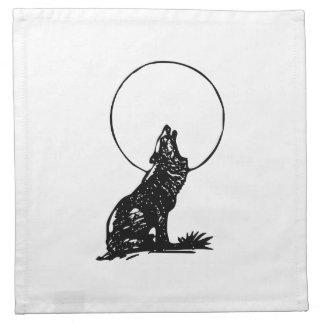 Lobo que grita en la luna servilleta imprimida